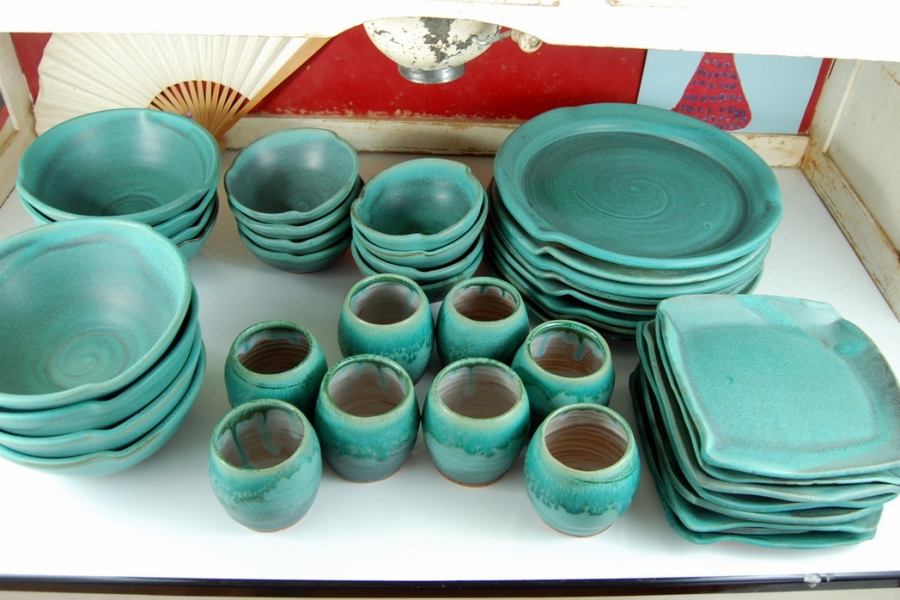 kitchen plates set portable island for handmade pottery dinnerware turquoise dishes ...
