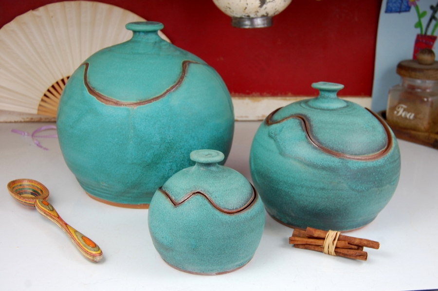 kitchen pottery canisters vintage faucets hand thrown canister set of three in turquoise closed form