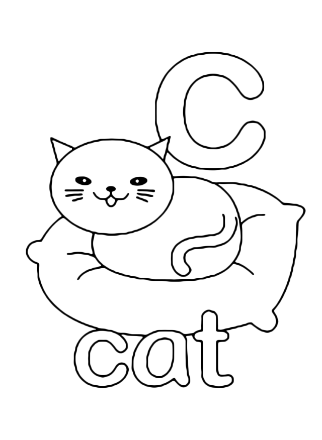 Letters and numbers - c for cat lowercase letter