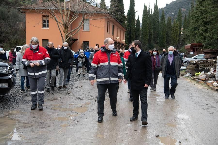 Tempête Alex : Visite princière à Breil-sur-Roya