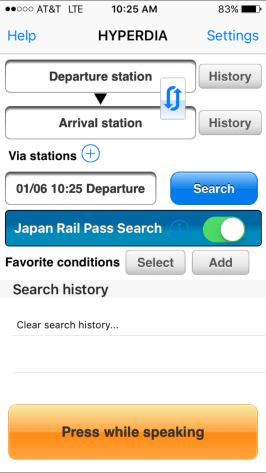 Input your desired stations of departure and arrival