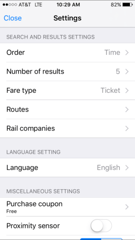 Change your settings to search based on railway, fare types, and the like