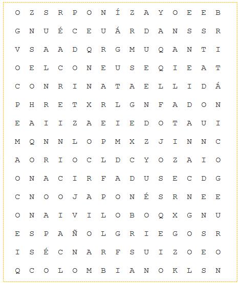 sopa de letras  nacionalidades
