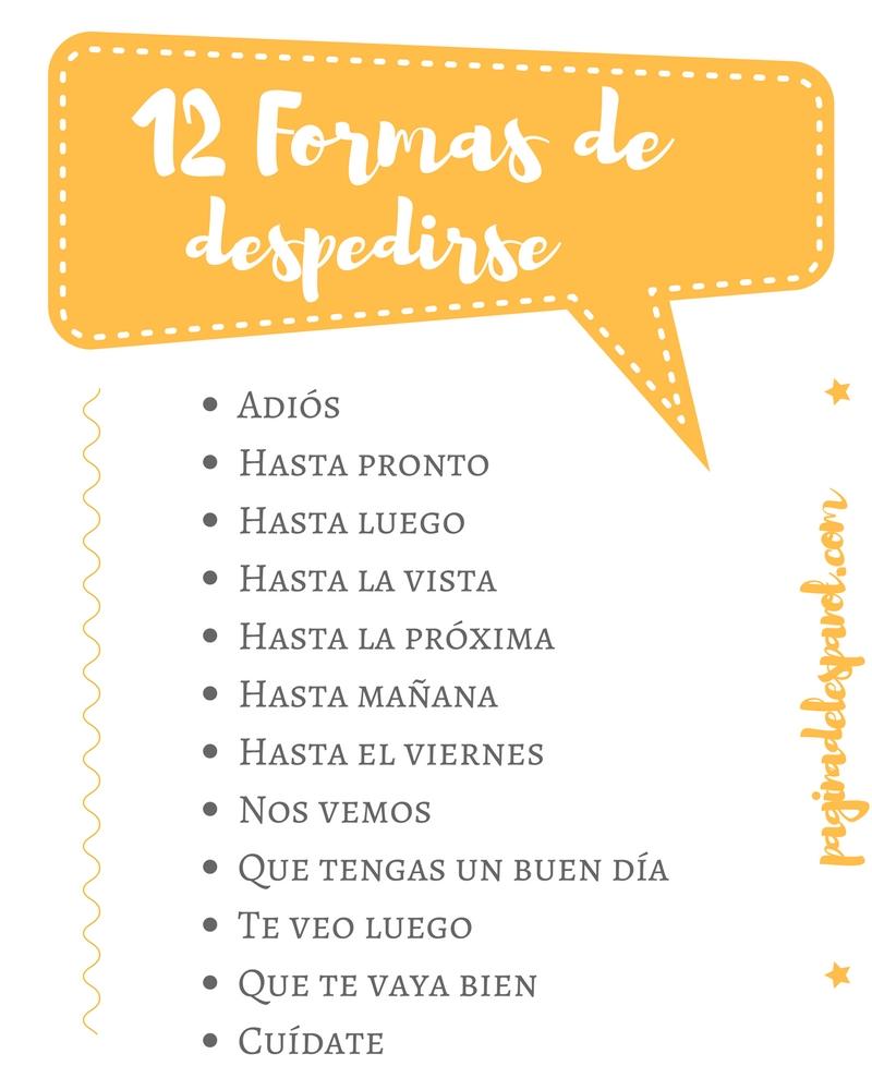12 formas de despedirse en español