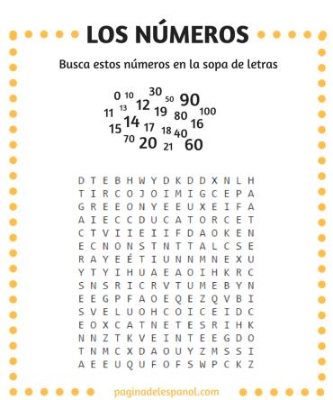 Sopa de letras: Los números del 0 al 100