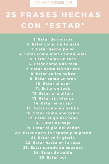 """25 frases hechas con """"estar"""""""