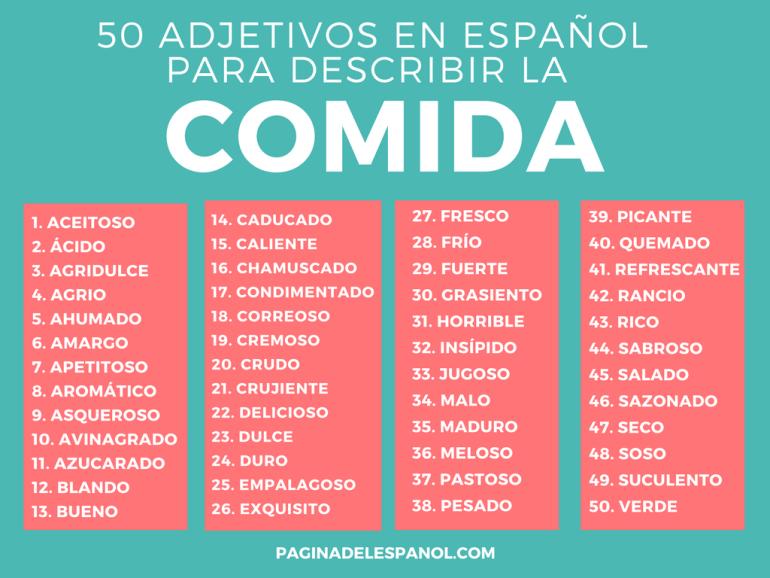 50 adjetivos para describir la comida la p gina del espa ol for Lista de comida en frances