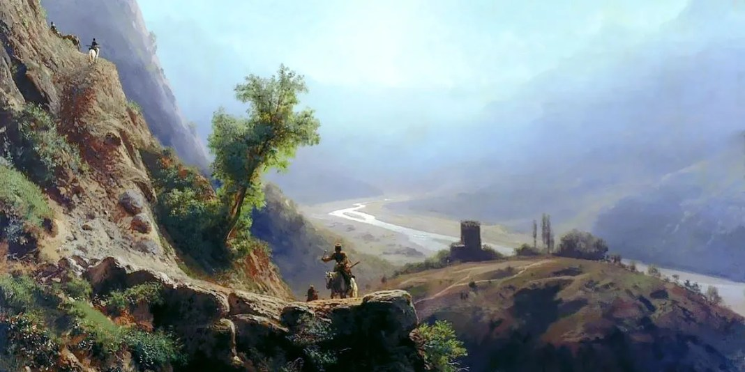 In the Caucasus mountains. Franz Roubaud