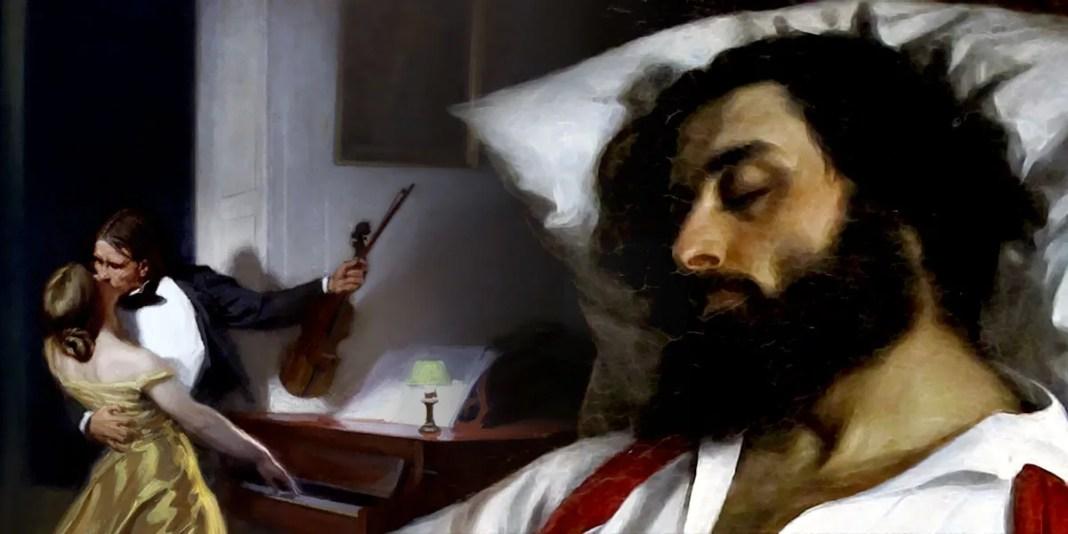 """""""La Sonate à Kreutzer"""" di René-Xavier Prinet (sx). """"L'homme endormi"""" di Carolus-Duran (dx)"""