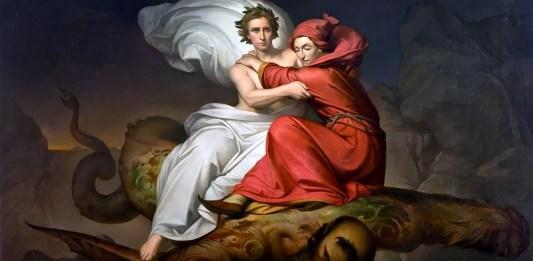 Dante e Virgilio portati in volo da Gerione. Roberto Bompiani