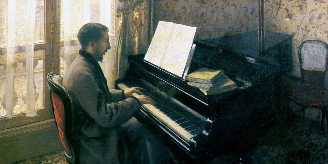 Young Man Playing the Piano. Gustave Caillebotte