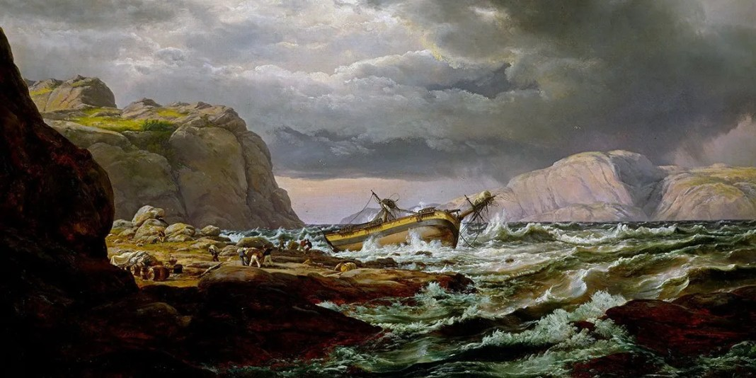 """Shipwreck on the Norwegian Coast"" di Johan Christian Dahl (1788–1857)"