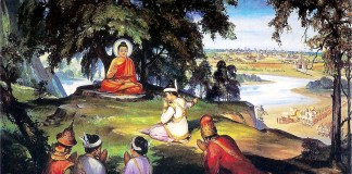 Painting of King Bimbisara offering his kingdom, Magadha, to the Buddha, who refused as He desired not for worldly enjoyment.
