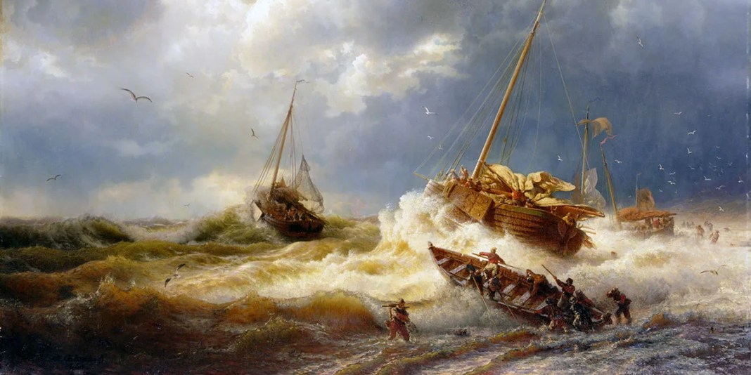 Andreas Achenbach. Ships in a storm on the Dutch coast