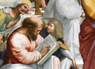 """Raffaello Sanzio. Particolare della """"Scuola di Atene"""" con Anassimandro, Averroè, Pitagora e Telauge in primo piano."""