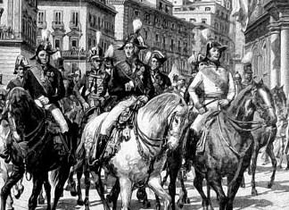 Rientro in Napoli di Ferdinando I nel 1821, scortato dalle truppe austriache