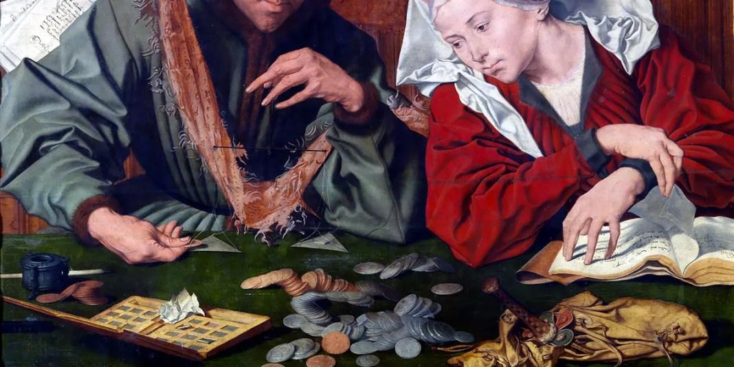 """Esattore di tasse con la moglie"" di Marinus van Reymerswaele"