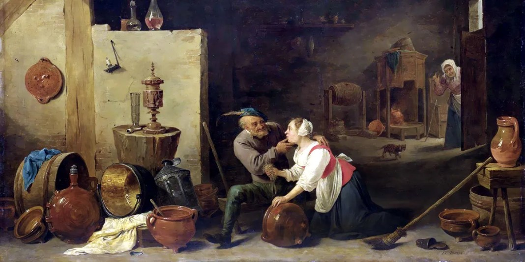An Old Peasant Caresses a Kitchen Maid in a Stable, David Teniers the Younger (c. 1650)