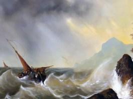 Ship in stormy seas. Andreas Achenbach