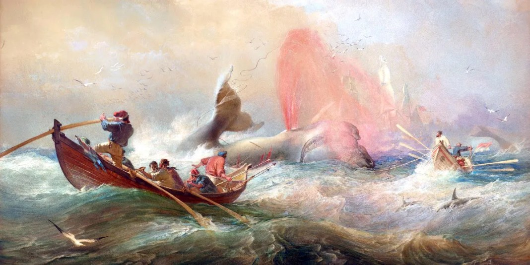 Whalers off Twofold Bay, New South Wales, Oswald Brierly