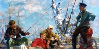 The midday rest sailors yarning, Henry Scott Tuke