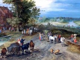 Landschaft mit Dorfschenke. Jan Brueghel d. Ä.