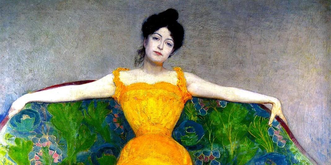 """""""Dame im gelben Kleid"""" (Lady in Yellow Dress, 1899) di Max Kurzweil"""