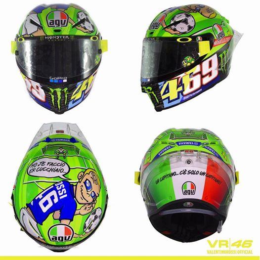 Rossi: omaggi a Totti e Hayden sul casco