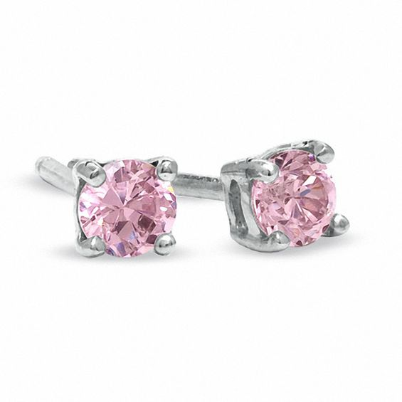 3mm Pink Cubic Zirconia Stud Earrings in Sterling Silver