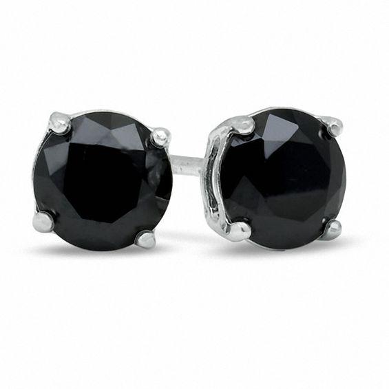 6mm Black Cubic Zirconia Stud Earrings in Sterling Silver