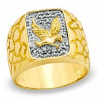 Men's Diamond Accent Eagle Nugget Ring in in 18K Gold ...