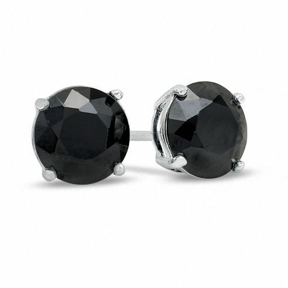8mm Black Cubic Zirconia Stud Earrings in Sterling Silver