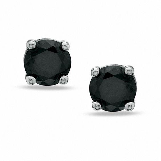 4mm Black Cubic Zirconia Stud Earrings in Sterling Silver
