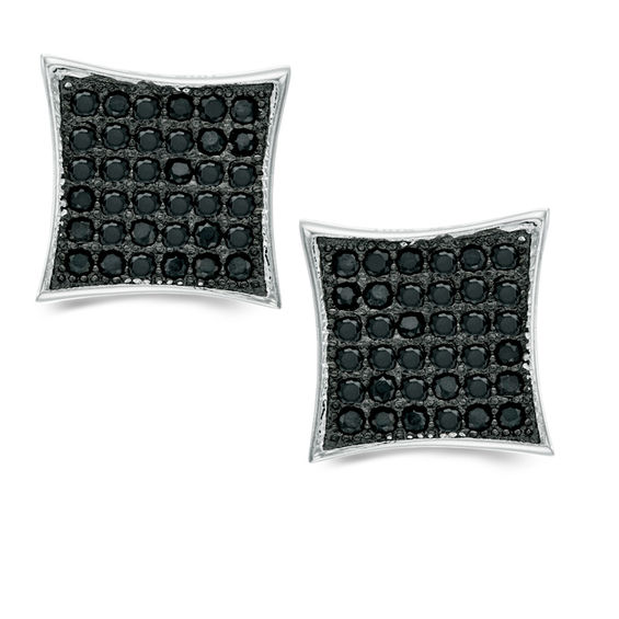 Black Cubic Zirconia Concave Square Stud Earrings in