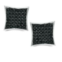 Black Cubic Zirconia Concave Square Stud Earrings in ...