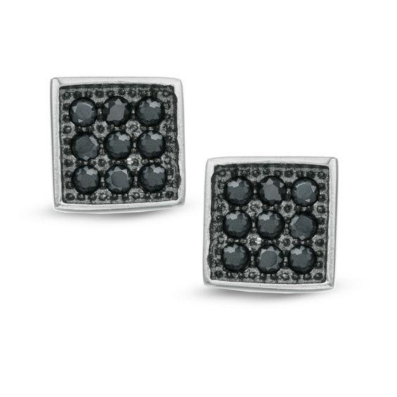 Black Cubic Zirconia Square Stud Earrings in Sterling