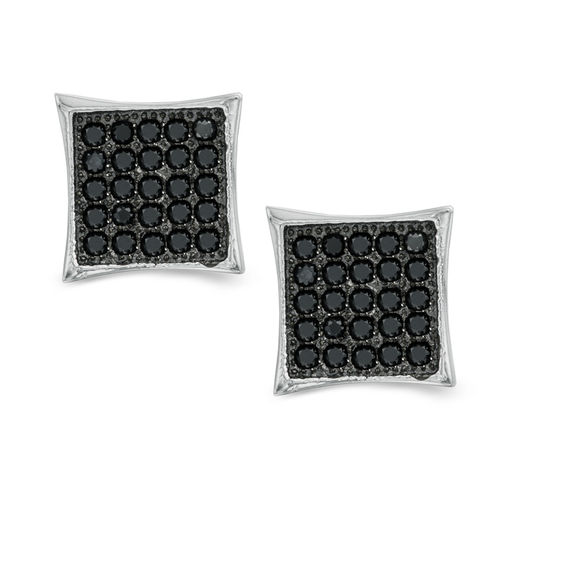 Black Cubic Zirconia Curved Square Stud Earrings in