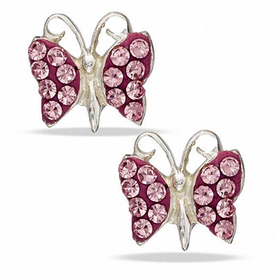 Child's Pink Cubic Zirconia Butterfly Stud Earrings in