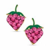 Pink Cubic Zirconia Strawberry Stud Earrings in 10K Gold