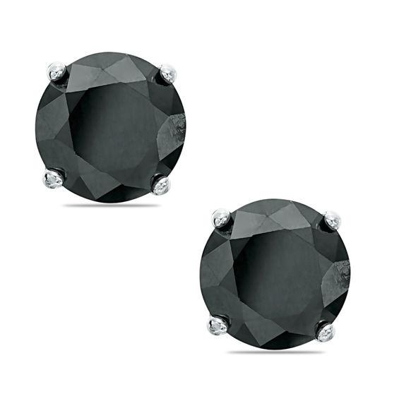 8mm Black Cubic Zirconia Solitaire Stud Earrings in