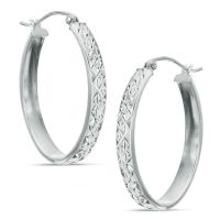 Diamond-Cut Oval Hoop Earrings in Sterling Silver | Hoops ...