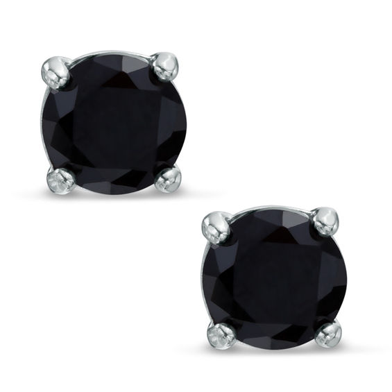 5mm Black Cubic Zirconia Solitaire Stud Earrings in