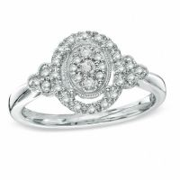 1/4 CT. T.W. Diamond Vintage-Style Oval Promise Ring in ...