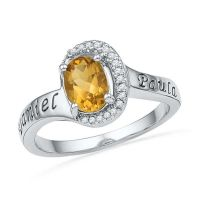 Oval Citrine and 1/20 CT. T.W. Diamond Promise Ring in ...