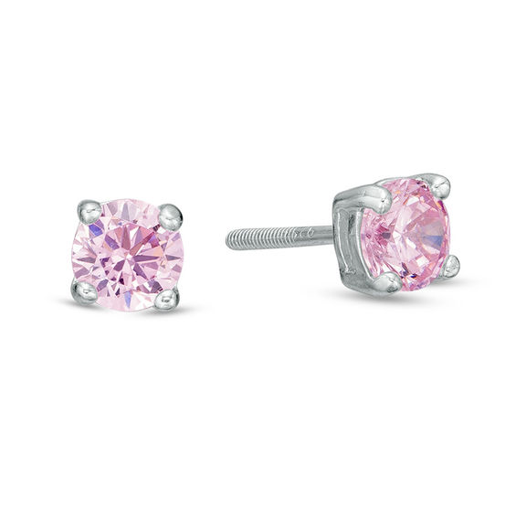Child's 4mm Pink Cubic Zirconia Stud Earrings in Sterling