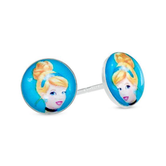Child's Disney Cinderella Stud Earrings in Sterling