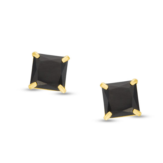 Men's 5mm Square Black Cubic Zirconia Solitaire Stud