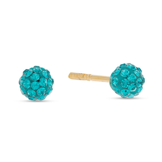 Child's 4mm Teal Crystal Ball Stud Earrings in 14K Gold