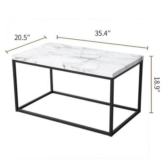 black metal box frame coffee table