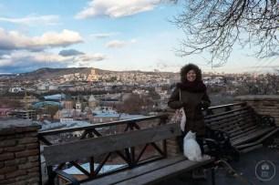 Vista su Tbilisi con gatto